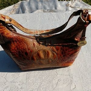 Authentic Brahim embossed pecan leather Handbag